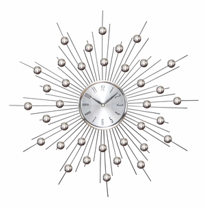 METAL WALL CLOCK WALL CLOCK FEATURING STAR BURST - 66965 by Benzara