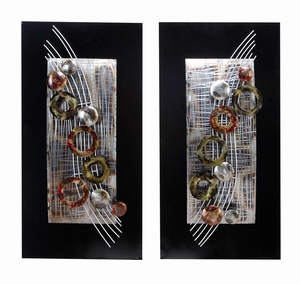 METAL WALL DECO SET OF 2 ASSORTED AMAZINGLY LOW PRICED - 68362 by Benzara