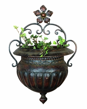 Metal Wall Planter For Spaces In Garden Or Porch - 21832 by Benzara
