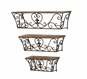Classic Metal Wall Shelf with Sublime Curves - Set of 3 - 50402 by Benzara
