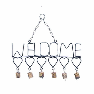 Metal Welcome Wind Chimes With Gangling Metal Hearts And Bells - 26753 by Benzara