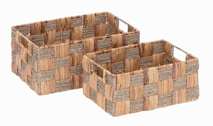 Wicker Basket with Spaciously Designed - Set of 2 - 48956 by Benzara
