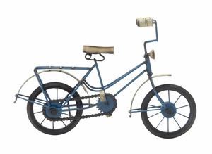 Metal Wood Blue Bicycle - 24504 by Benzara