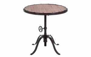 "Metal Wood Round Table 30""H, 30""W Accent Collection - 51836 by Benzara"