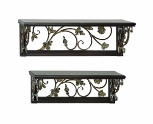 Metal Wood Wall Shelf With Intricate Design In Green - Set Of 2 - 63018 by Benzara