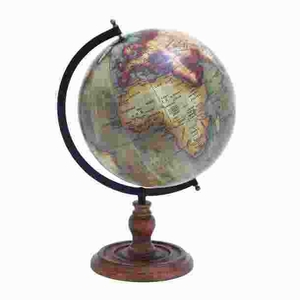 Wooden Globe With Distinctive Pattern In Rustic Color - 38135 by Benzara