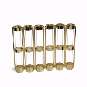 Metallic Gold Six-Tube Hinged Bud Vase