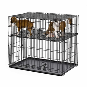 Midwest Puppy Playpen with Plastic Pan and 1/2Floor Grid Black 24x 36x 30 Inch