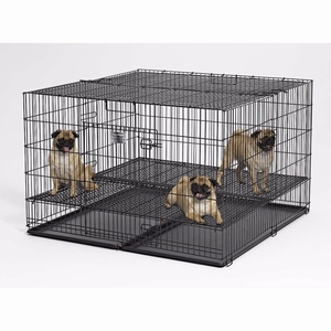 "Midwest Puppy Playpen with Plastic Pan and 1/2"" Floor Grid Black 48"" x 48"" x 30"""