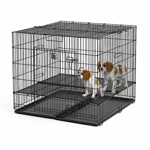 Midwest Puppy Playpen with Plastic Pan and 1Floor Grid Black 36x 36x 30 Inch