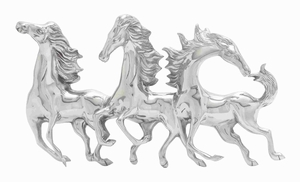 Magnificent And Majestic Aluminum Horse Wall Decor - 22044 by Benzara
