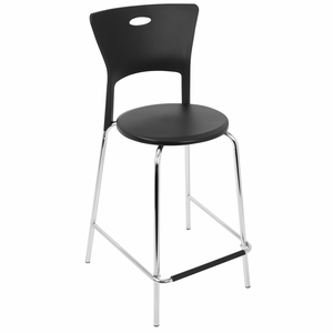 Mimi Counter Stool in Black and Chrome - Set Of 2 by LumiSource