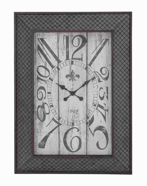 Designed Metal Wood Wall Clock With Mesh Pattern - 20223 by Benzara