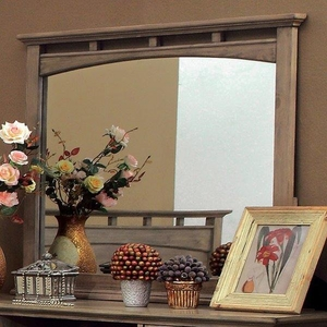Loxley Transitional Style Mirror In Weathered Oak Finish