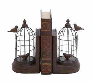 A Pair of Metal and Poly Stone Bird Cage Bookend - 44729 by Benzara
