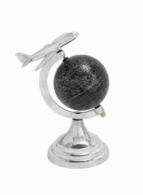 Metal Globe With White Mapping On Black Background - 28351 by Benzara