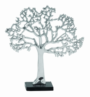 Exquisite Aluminum Tree Decor In Rich Silver Finish And Black Base - 26939 by Benzara