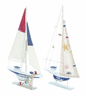 Modern Assorted Wooden Sailing Boat In White Finish - Set Of 2 - 38726 by Benzara