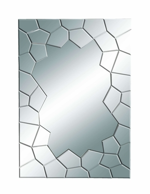 Contempo Looking Glass Mirror With Cracked Edges - 56087 by Benzara