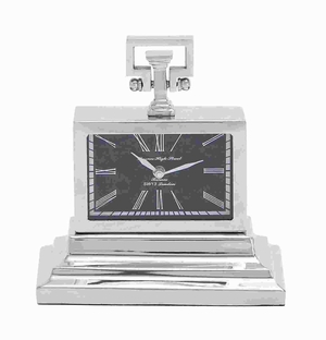 Nickel Plated Table Clock With Three Tiered Base - 27851 by Benzara