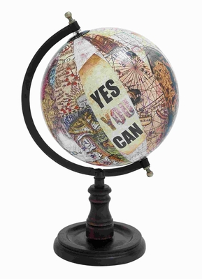 Wood Globe With Sturdy Base And Printed Graphics - 27940 by Benzara