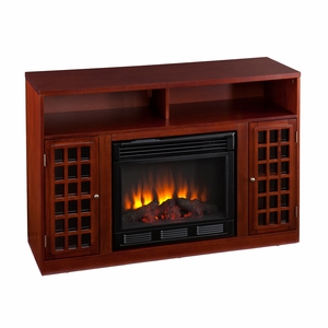 Modern Narita Wooden Media Fireplace with Storage Sections by Southern Enterprises