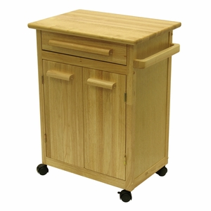 Winsome Wood Modern Piece of Kitchen Cart with a Drawer and Cabinet