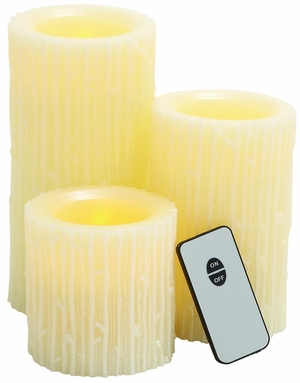 Modern Styled Attractive Led Wax Candle Remote Set/3 - 68624 by Benzara