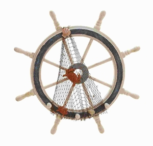 Wood Ships Wheel in Meticulously Carved Finial Work - 78702 by Benzara