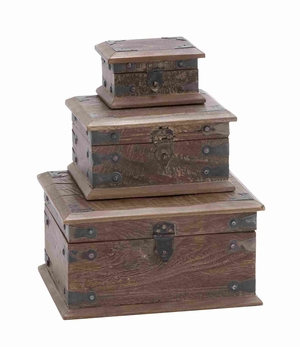 Wooden Modern Reclaimed Box With Storage Space (Set Of 3) - 28700 by Benzara