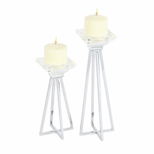Modish Glass Candle Holder, Set Of 2 - 87384 by Benzara
