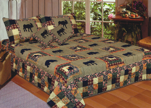 American Hometex 5689-K Moose Medley Quilt King Size 108 Inch X 90 ... : size of quilts - Adamdwight.com