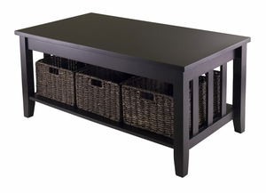 Morris Coffee Table with 3 Foldable Baskets by Winsome Woods