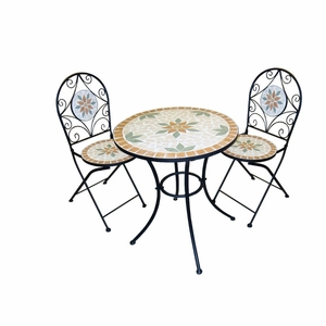 Mosaic Bistro Set with Two Chairs by Alpine