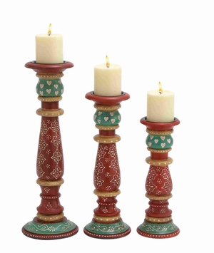 Multicolor Wooden Candle Holder In Different Sizes In Set Of 3 - 26802 by Benzara