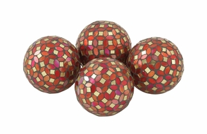 Multicolored Pvc Glass Red Mosaic Orb Set Of 4 - 24011 by Benzara