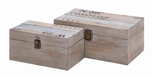 Useful and Spacious Multipurpose Wooden Metal Box (Set of 2) - 92371 by Benzara