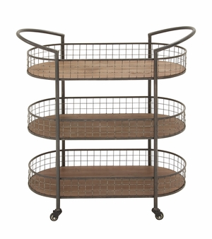 Multipurpose And Stylish Metal Wood 3 Tier Cart - 54490 by Benzara
