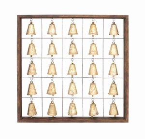 Classic Wooden Metal Bell Frame With Twenty Five Bells In A Simple Square Shaped Woo - 26807 by Benzara