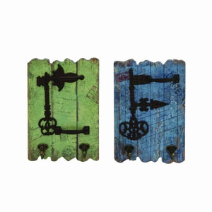 Stylish Wood Metal Hooks with Rustic Imprinted Stamps & Writings