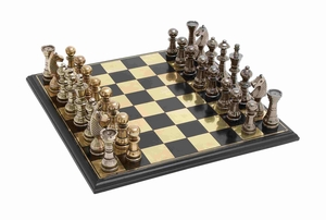 Sleek And Stylish Chess Set With Polished Aluminum Pieces And Stainless Steel Plated - 28370 by Benzara
