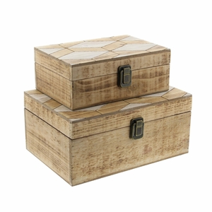 Natalie Wooden Box In Natural Finish, Set Of 2 - 84305 by Benzara