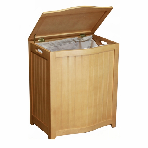 Oceanstar ocs bhp0106n natural finished bowed front laundry wood hamper with interior bag by - Wooden hampers for laundry ...