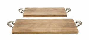 Natural Finished Wood Metal Tray Set Of 2 - 14671 by Benzara