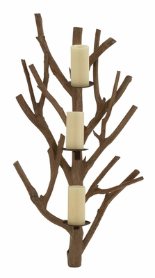 Nature's Wood Metal Candle Sconce by  Import by Benzara