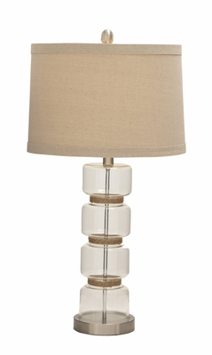 Nature Themed Splendid Glass Metal Jute Table Lamp - 78456 by Benzara