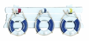 Attractive Wooden Lifebelt With Functional Hook In Blue - 38738 by Benzara