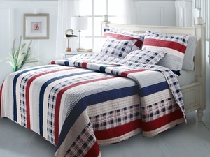 GL-1204LMSQ Nautical Stripes Cotton Quilt, Queen Set, 90x90