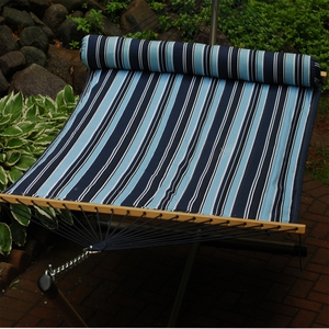 Algoma Navy and sky blue stripe13' Reversible Quilted Hammock