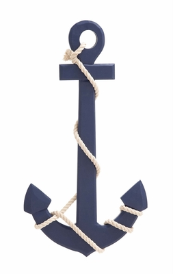 Navy Blue Color Palette Attractive Wood Rope Wall Anchor - 78762 by Benzara